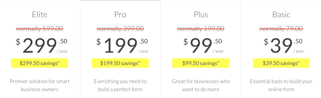 wpforms pricing 2020