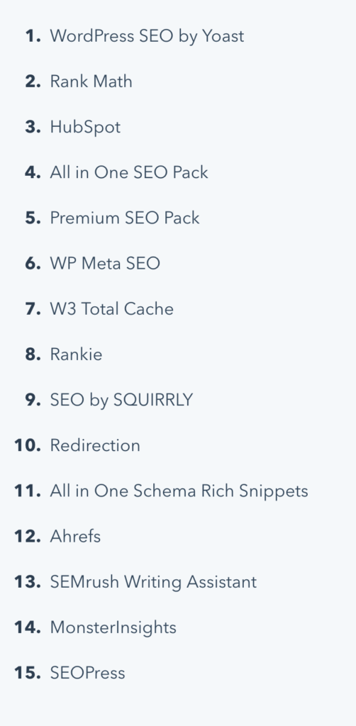 numbered list of SEO Plugins in a post